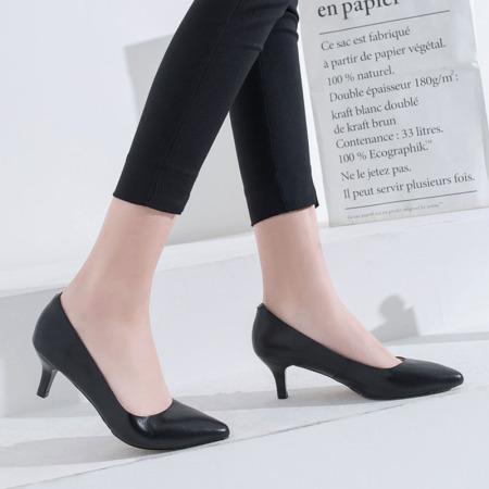 奈绮儿Naiyee 牛皮低跟浅口低跟单鞋女鞋·MMLR-M185黑色