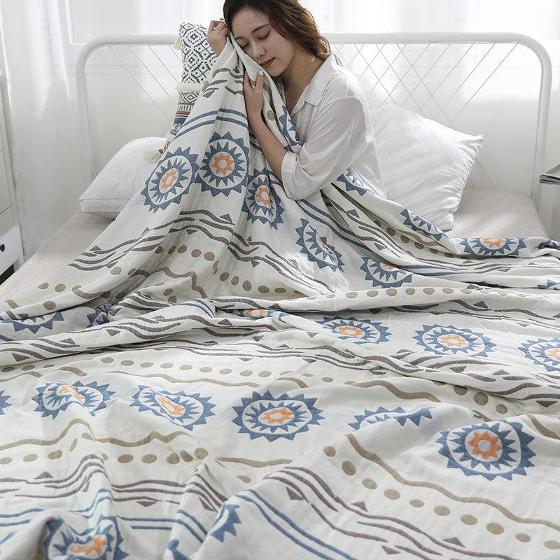 YENLN日本家居提花AB版六层纱布毛巾被单人/双人·波浪-圈圈