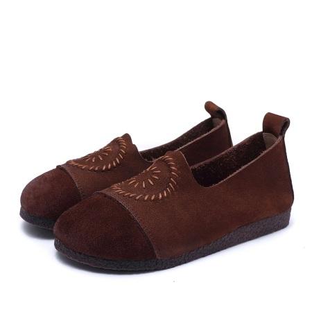 AFW头层牛皮复古平底圆头磨砂平底鞋W006-5·焦糖色