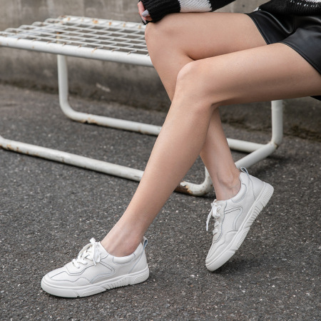 BeauToday 新款纯色百搭休闲平底小白鞋·米色