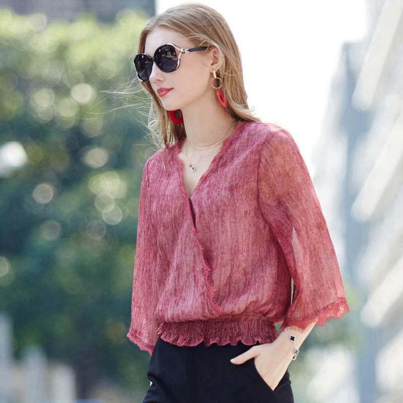欧力丝OLiSi女装简约优雅不挑身材V领舒适上衣·粉色