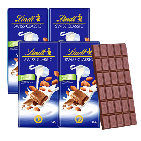 瑞士莲瑞士经典排装巧克力100g*4·扁桃仁牛奶巧克力