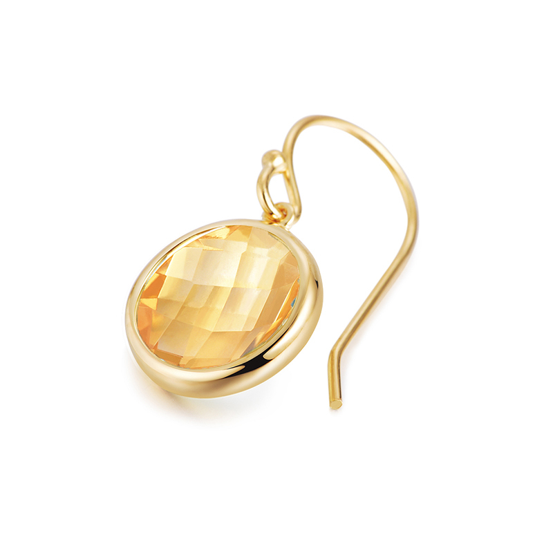 Piara银镀18K金黄晶耳环EK01042D