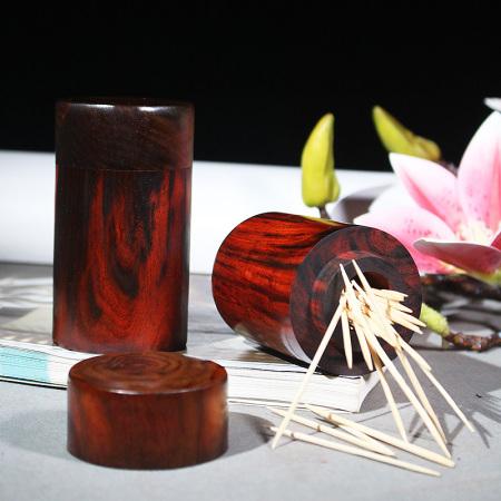 百年许氏 老挝大红酸枝圆柱牙签筒