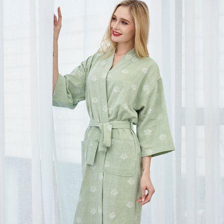 紫运蝶双层水洗纱布浴袍皇冠· 绿色