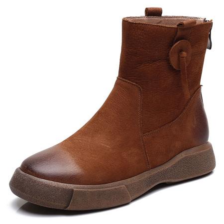 蒂朵雅 真皮英伦风女鞋厚底平底短靴女靴l002302-3559·红棕厚绒