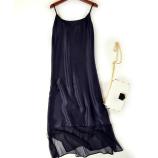 丁摩 真丝裙摆镂空网纱连衣裙6006·黑色