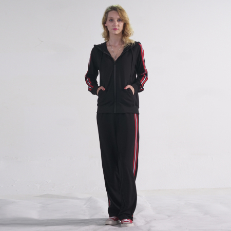 Prolivon时尚拼接针织运动套装·黑色红白条纹