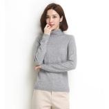 墨枝 纯色百搭纯羊毛高领套头羊毛衫女(五色可选,M90079009)·浅灰