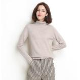 墨枝 纯色百搭纯羊毛高领套头羊毛衫女(五色可选,M90079009)·浅糖米