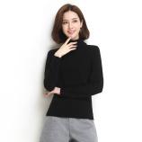 墨枝 纯色百搭纯羊毛高领套头羊毛衫女(五色可选,M90079009)·黑色