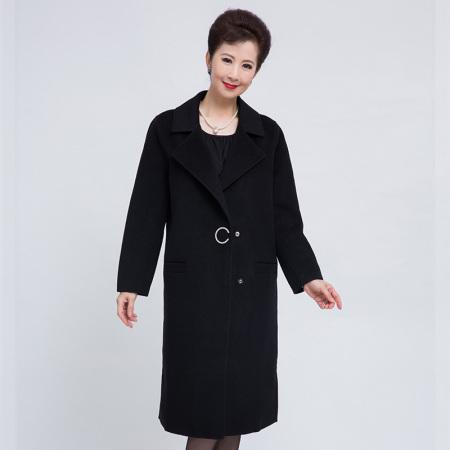 尚街 设计感搭扣翻领纯羊毛大衣女(两色可选,SJ18258002)·黑色