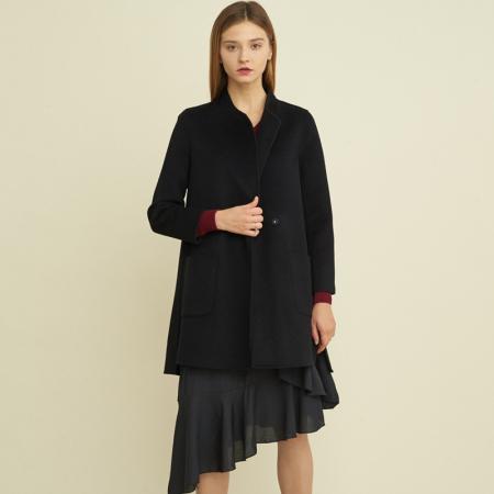 尚街 时尚立圆领百分百羊毛呢大衣·黑色