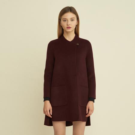 尚街 时尚立圆领羊毛呢大衣·酒红色