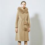 皮尔卡丹狐狸毛领系带显瘦羊毛大衣-8086-香槟色·香槟色