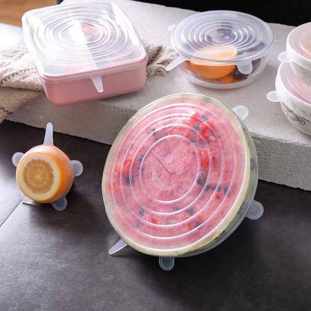 美之扣 食品级硅胶防尘防漏多功能保鲜盖12件超值组