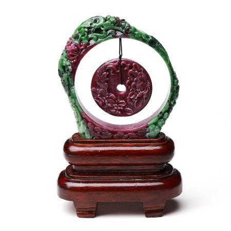 满记 精选红绿宝花开富贵摆件配实木底座