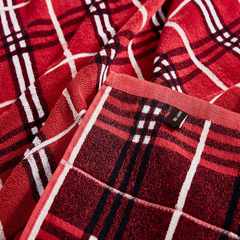 LOFTEX/亚光亲肤舒适纯棉双人夏季盖被超柔毛巾被+枕巾三件组2色可选·深红格