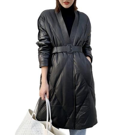 丁摩 绵羊皮真皮皮衣系带收腰中长款皮草外套211·黑色