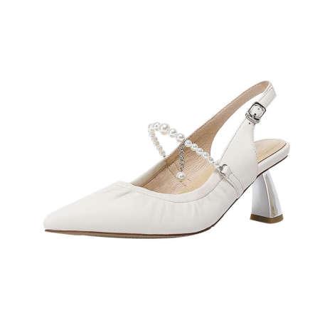 奈绮儿 羊皮尖头珍珠链条凉鞋·米白色
