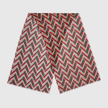 GUCCI新款双G绿红绿斜纹超长围巾·咖色