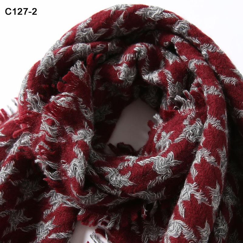 南秀丝语100%纯羊绒千鸟格女士披肩38*185cm·C127-2红灰