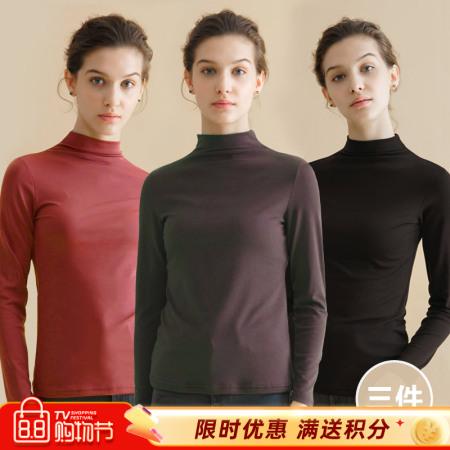 百搭半高领打底衫三件组·组合4(砖红+深卡其+黑)  组合4