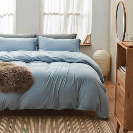 大朴 天然新疆棉针织件套·灰蓝