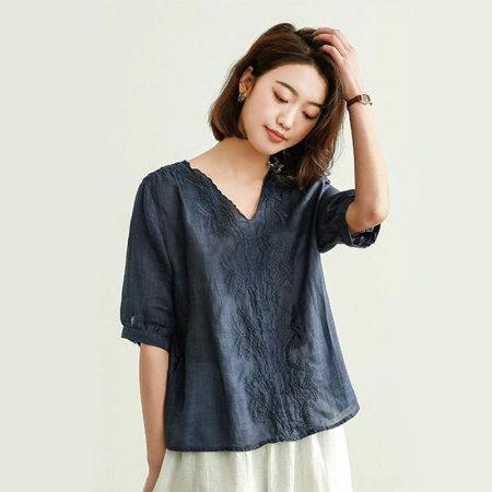 漫丽依100苎麻刺绣短袖T恤·藏青色 19963