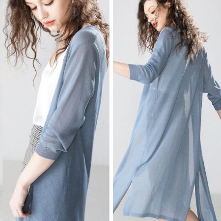 莫兰迪色系亚麻+冰丝混纺中长款披肩,防晒挡空调风!超气质!·雾霾蓝