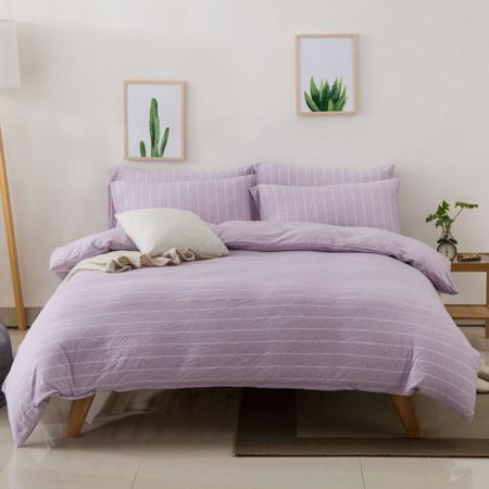 凯特之家四件套全棉天竺棉夏季床上用品1.5m/1.8m被套裸睡床笠·紫荷宽条