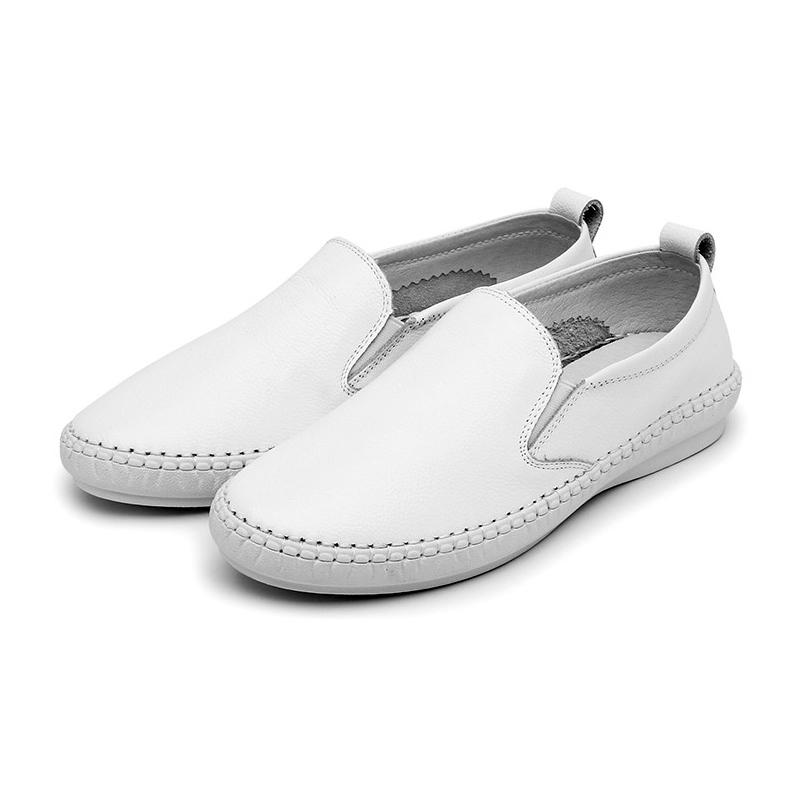 舒适懒人鞋!真皮一脚蹬百搭休闲鞋·白色