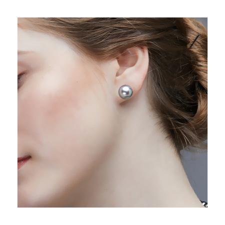 Vermeer 18K金银灰色大溪地海水珍珠基础耳钉10-11mm·银灰色