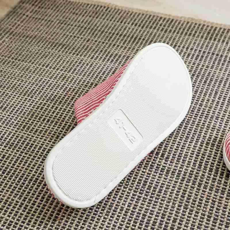 一梦乳胶拖鞋均码款*2双·条纹大红