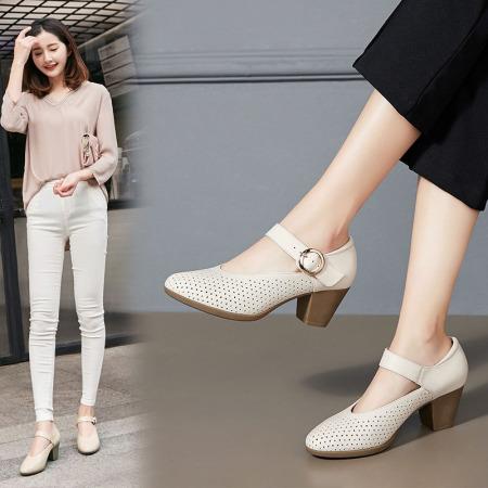 Garthphil浅口女鞋粗跟尖头镂空高跟鞋洞洞单鞋女f009703-18175·米白色