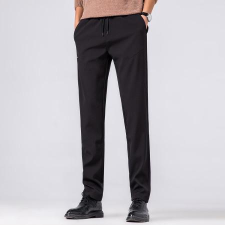 意大利富铤 2019春季新款抽绳舒适男士裤子运动裤百搭男士休闲裤--2色可选·黑色