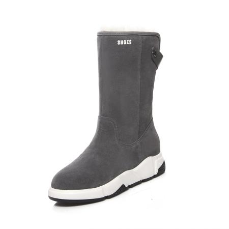 Garthphil 冬季真皮厚底保暖加绒内增高中筒靴l006007-19015·灰色绒里