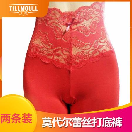 丁摩 蕾丝花边高腰弹力打底裤2条组 修身显瘦薄款衬裤 W9803(混色备注)·红色*2