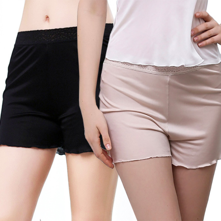玉露浓 2条装 桑蚕丝针织打底平角裤·黑色+肤色