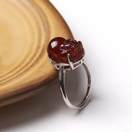 满记精选橙色石榴石貔貅925银戒指