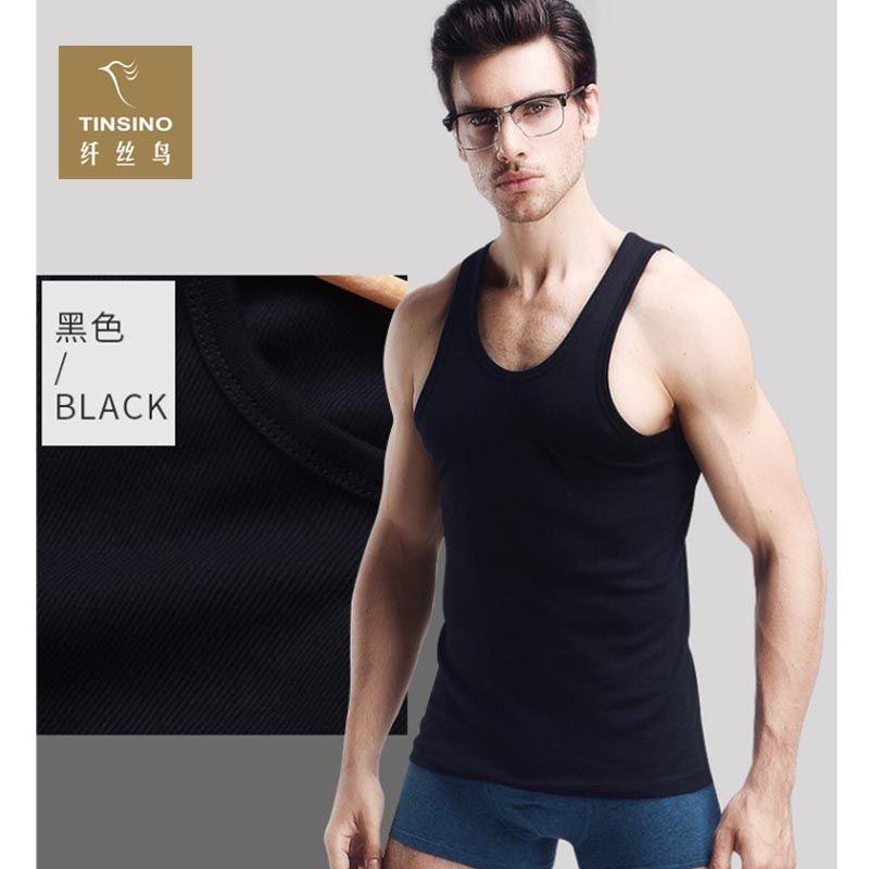 纤丝鸟全棉螺纹男士背心15083(2条)--99元买一赠一!品牌推荐,纯棉品质!外穿内搭!怎么穿都值了!  黑色  黑色  黑色  黑色