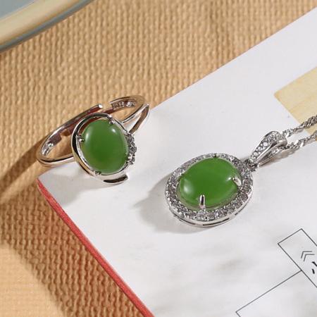 美润珠宝s925银镶碧玉两件套