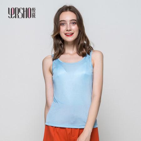 悦晓 桑蚕丝时尚经典圆领背心1029·蓝色  蓝色  蓝色