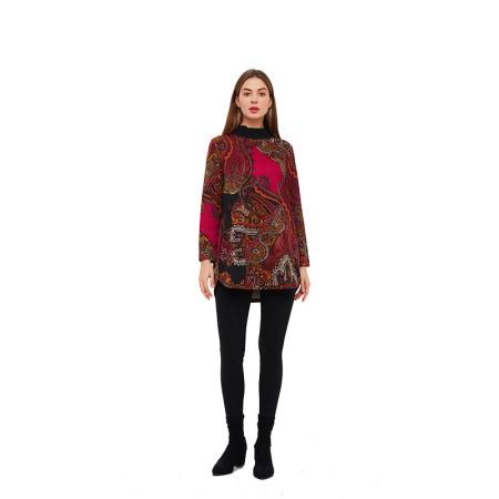 菁夫人如意花边领上衣·枚红色