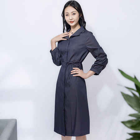 金典娜高贵典雅长款外套·蓝色