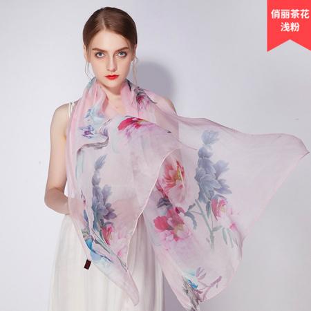 上海故事 四季百搭匠心织造6A级1.8米桑蚕丝丝巾·俏丽茶花浅粉