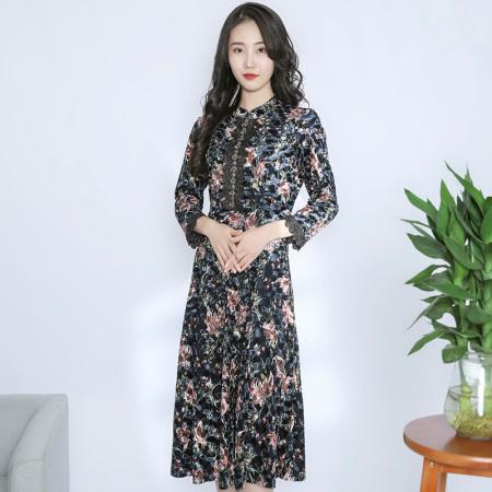 金典娜丝绒华彩连衣裙·深蓝色