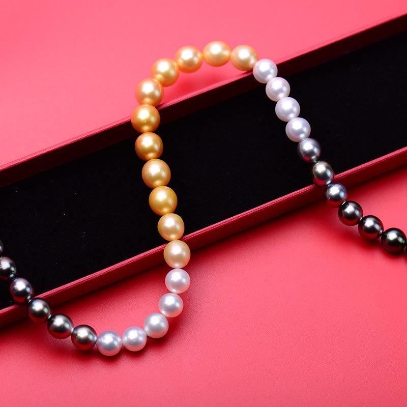 14K金四季混彩澳白炫彩金珠混搭项链时尚款·澳白,真多麻,炫彩,金色