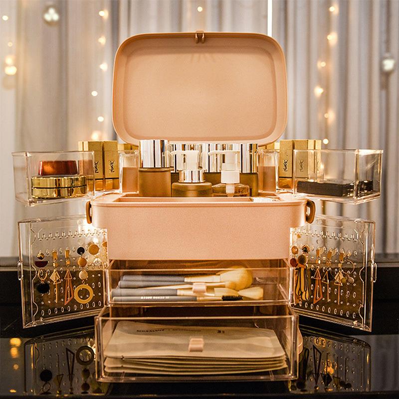 海兴网红化妆品收纳盒LED灯 防尘护肤品梳妆台桌面带镜子灯首饰置物架·普通款