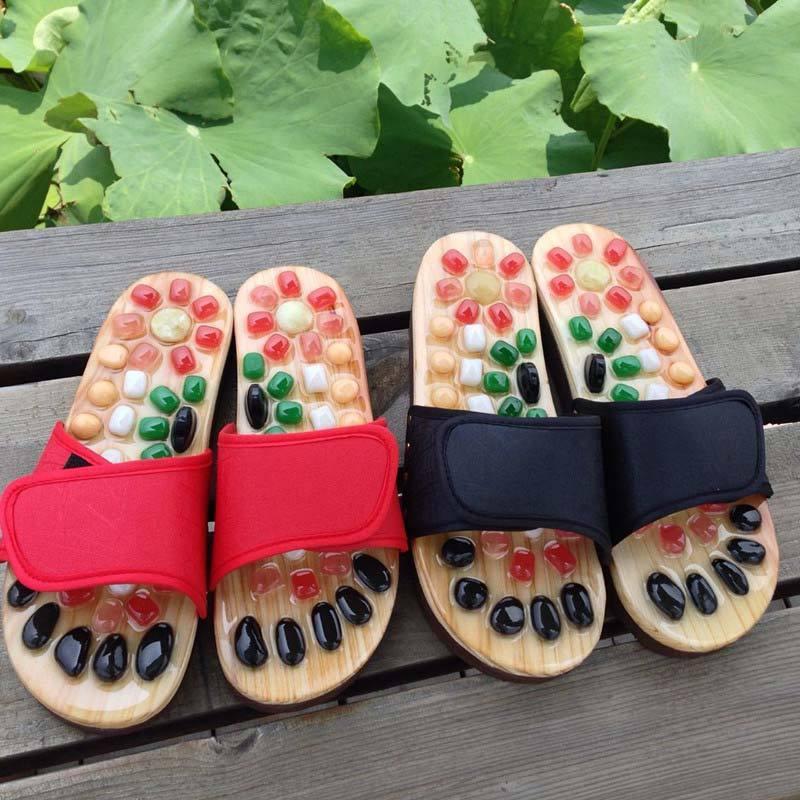养生宝鹅卵石按摩拖鞋---提高睡眠质量!增强人体免疫力!促进血液循环!缓解亚健康!  红色  红色